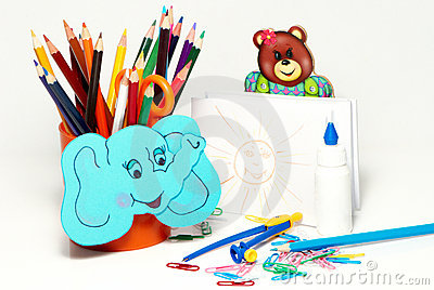 School stationery on a white background