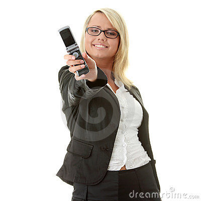 Young business women with cellular phone
