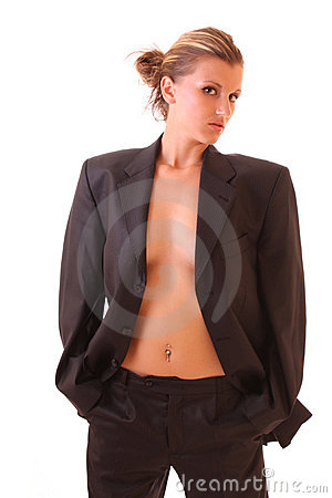Young woman in office suite isolated