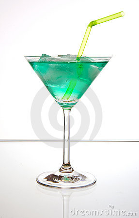 Cocktail with ice and straw