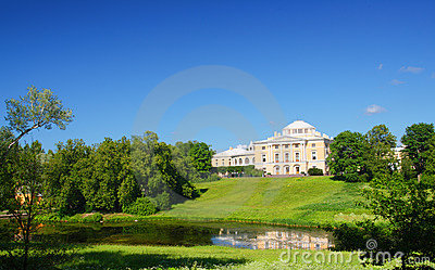 Palace on hill in Pavlovsk park