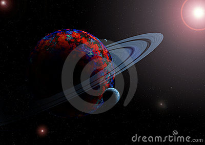 Planet and moons in space