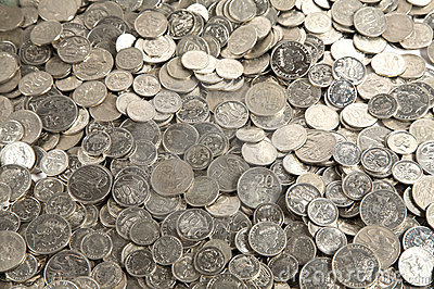 Pile of cash coins