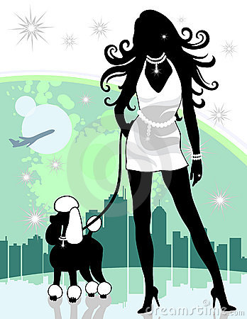 Successful Female in City Walking Poodle