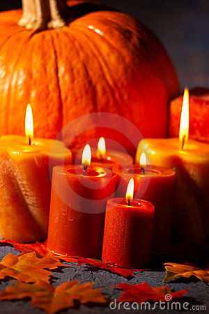 Set of Candles and pumpkin