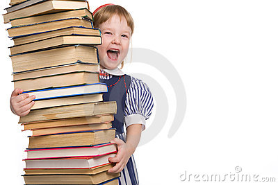 Little baby with books isolated