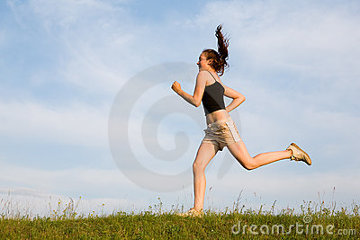 Woman run in field