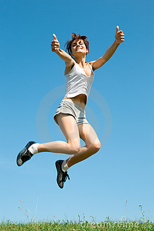 Woman jump in field
