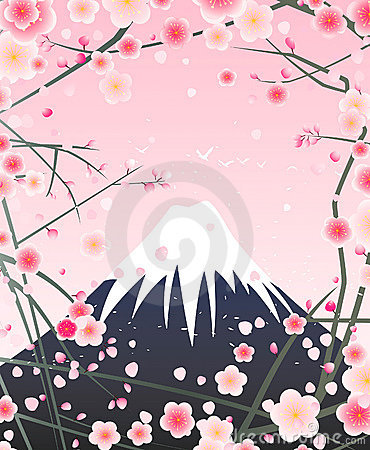 Snow mountain and cherry blossom
