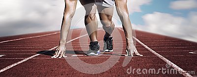 stock image of sport. unknown young runner on the start line. horizontal