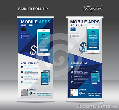 MOBILE APPS Roll up banner template, stand layout, blue banner