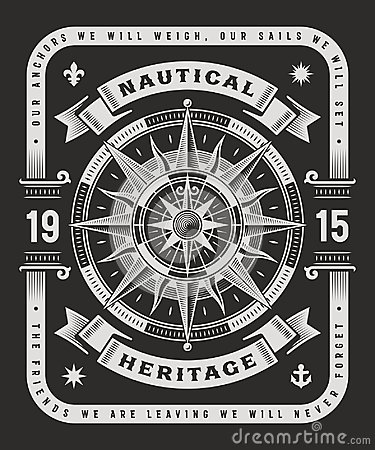Vintage Nautical Heritage Typography On Black Background