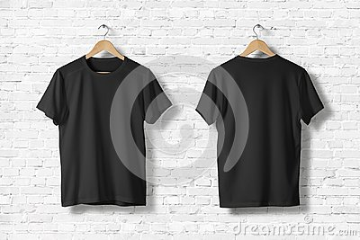 Blank Black T-Shirts Mock-up hanging on white wall, front side view.