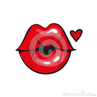 red lips in a kiss of love. And red heart, isolated on white. Vector illustration.