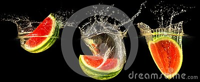Fresh melon falling in water