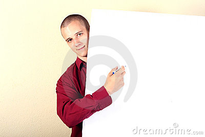 Businessman point at table