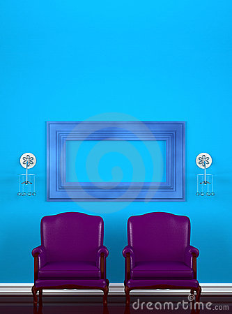 Two chairs with empty frame