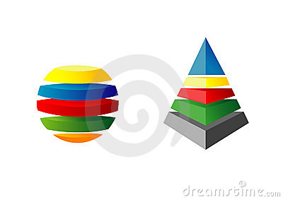 3d piramid and sphere
