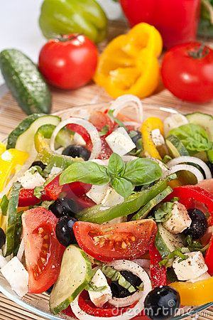Greek salad with ingredients