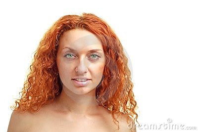 Red haired woman with copyspace