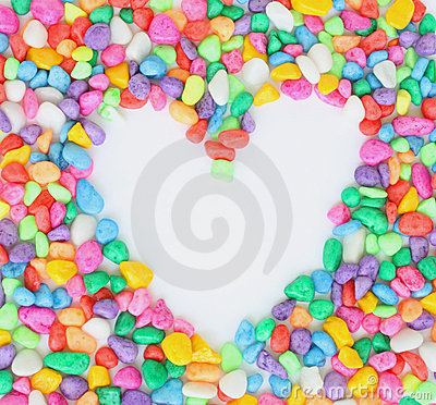 Heart from colorful stones.
