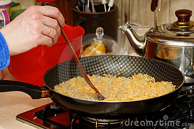 Skillet with rice
