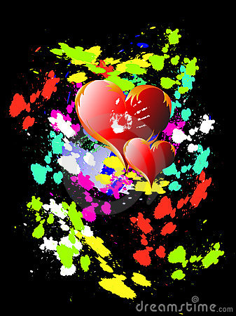Two hearts on bright background