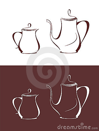 Coffee pot and milk jug