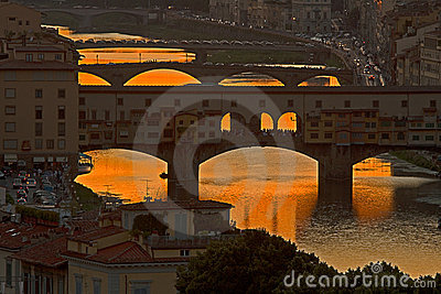 Toscana. Sunset in Florence.