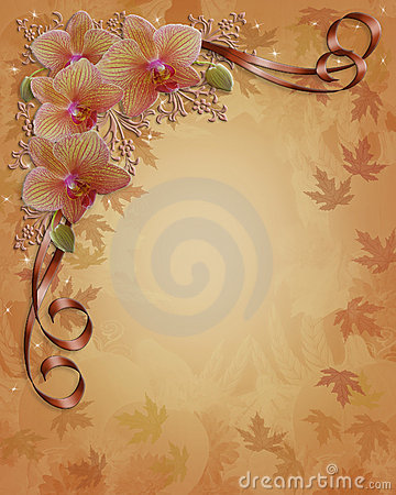 Orchids Floral wedding Border Fall colors