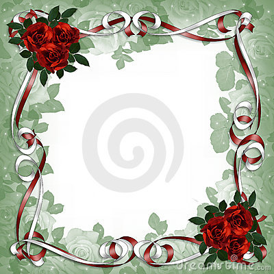 Red Roses and Satin Ribbons Floral Border