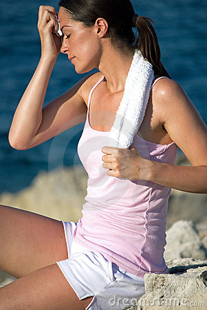 exhausted woman after exercise