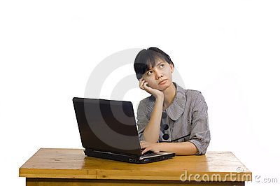 Business Woman Stress Using Laptop at the Desk