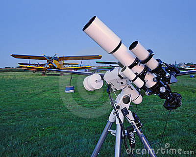 Telescope at an airfield