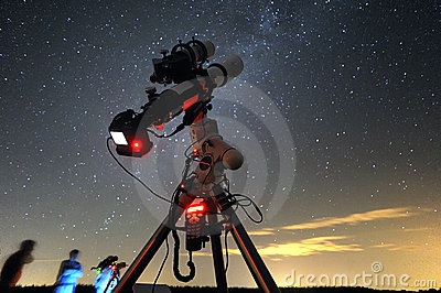 Telescope under the night sky