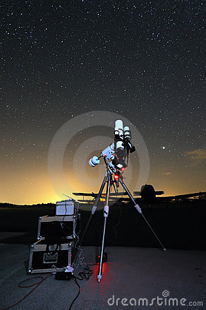 Telescope under the night sky 2