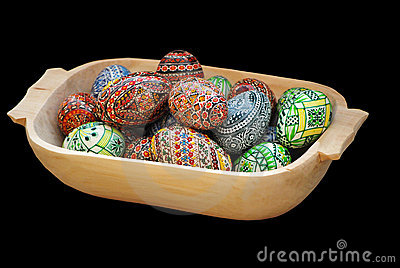 Painted Easter eggs on a black background