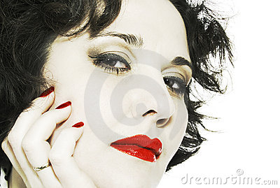 Close-up woman face with red lips