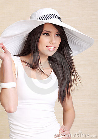 Beautiful woman in white  hat