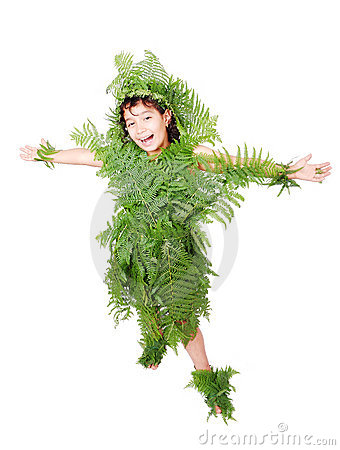 Pretty  girl dressed in green plant leafs