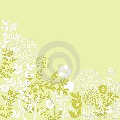 Light green floral patterns
