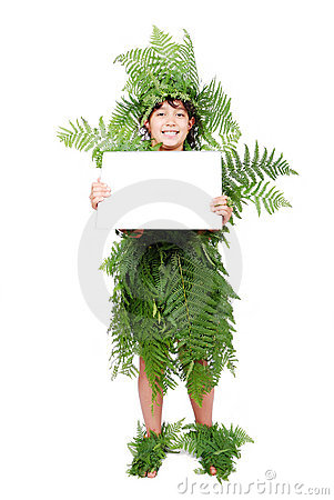 Pretty little girl dressed in green plant leafs ad
