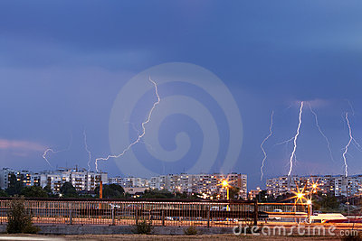 Thunder storm over the city