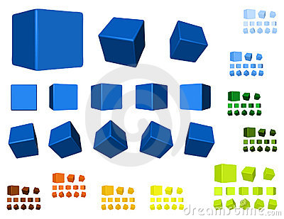 3d cubes color variation