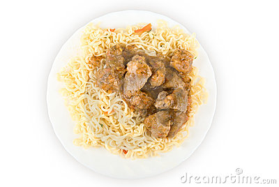 Spaghetti and meat