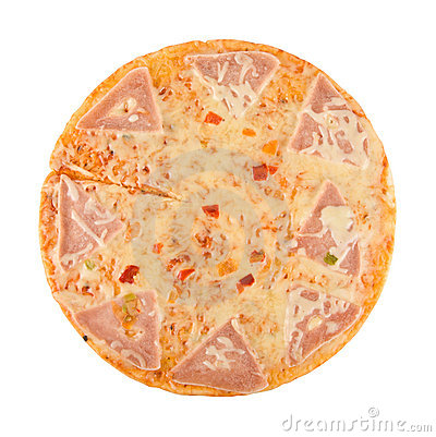 Pizza with ham, cheese, pepper