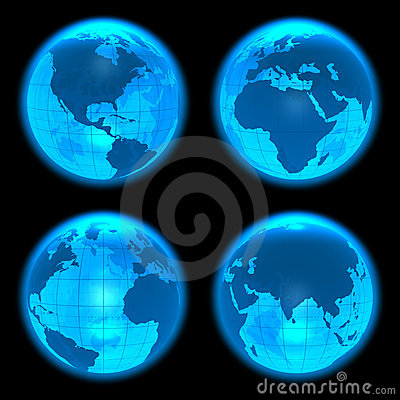 Blue glowing Earth globes