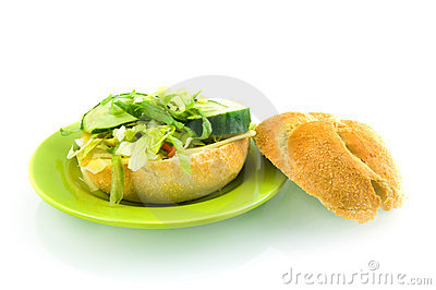 Fresh sandwich stuffed with lettuce