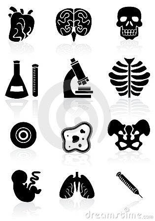 Biology Icon Set - black and white.