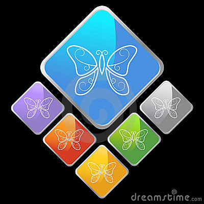Chrome Diamond Icons - Butterfly